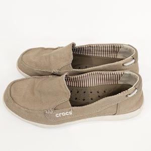 Crocs Walu Canvas Boat Shoe Loafers Sz 8